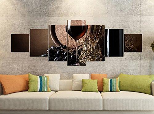 Leinwandbilder 7 Tlg 280x100cm Wein Flasche Rotwein Fass Trauben Glas Leinwand Bild Teile teilig Kunstdruck Druck Vlies Wandbild mehrteilig 9YB1502, Leinwandbild 7 Tlg:ca. 280cmx100cm (Wein Trauben Und Bilder)