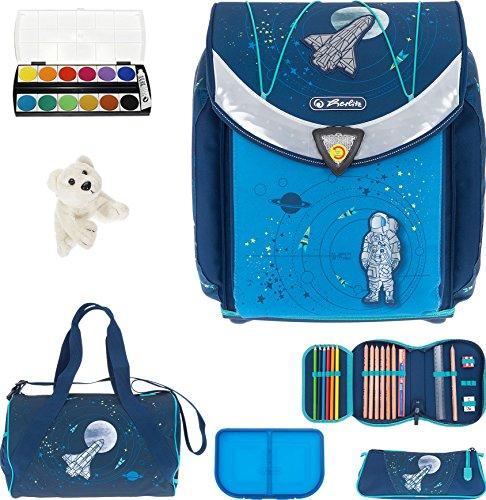 7 SET HERLITZ FLEXI PLUS Schulranzen Ranzenset Schultasche Mäppchen gefüllt + Sporttasche ek (Space (47))