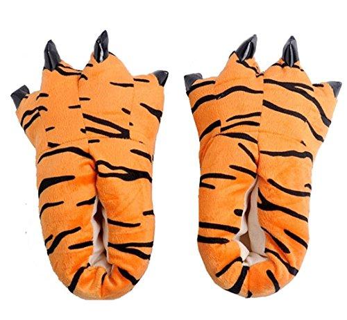 MILEEO Unisex Herbst Winter Tierhausschuhe Plüsch Hausschuhe Pantoffeln Kostüme Warme Puschen, Tiger L