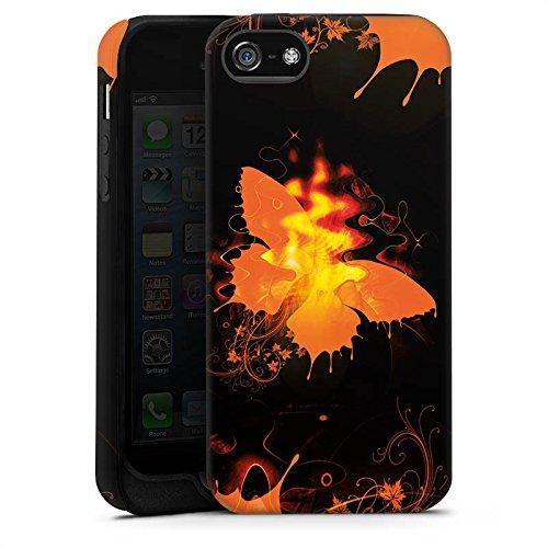 Apple iPhone X Silikon Hülle Case Schutzhülle Schmetterling Feuer Flamme Tough Case matt
