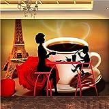 Xbwy Benutzerdefinierte Fototapete Mode Paris Tower Of Kaffee Silhouette Hintergrund Wandbild Cafe Flur Dekoration Tapete-120X100Cm