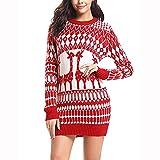 Weihnachtspullover, HUYURI Frauen Casual Langarm Elch Print Kleid Tunika