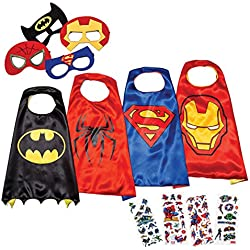 Disfraces de Superhéroes para Niños LAEGENDARY - 4 Capas y Máscaras - Disfraces de Halloween - Logo Brillante de Spiderman - Juguetes para Niños y Niñas