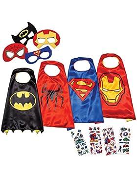 [Patrocinado]Disfraces de Superhéroes para Niños LAEGENDARY - 4 Capas y Máscaras - Disfraces de Halloween - Logo Brillante...
