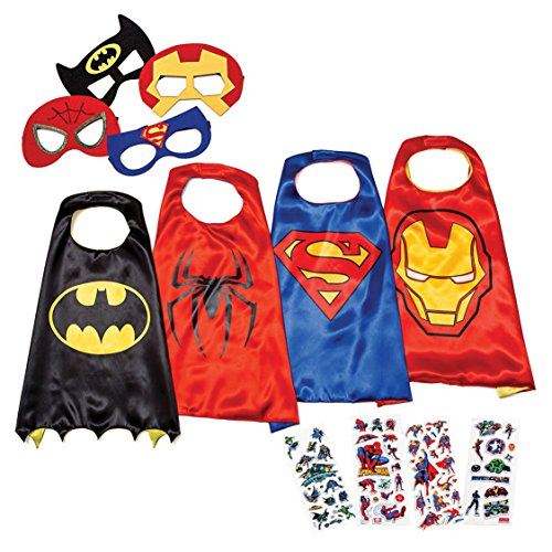 LAEGENDARY Disfraces de Superhéroes para Niños - Regalos de cumpleaños para niños - 4 Capas y Máscaras - Logo Brillante de Spiderman - Juguetes para Niños y Niñas