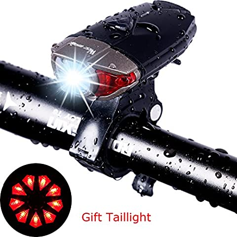 USB Rechargeable Bike Light Set, West Biking 300 Lumens Super Bright Bicycle Cycle Accessories Reflector Front Led Lights for Mountain Road Adults Kids Safety Cycling Headlamp, FREE Tail Light