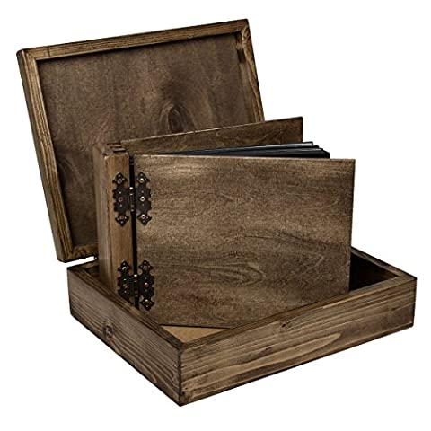 75 Blatt Fotoalbum in strukturgleicher Holzkiste neutral alles in Holz 150 Seiten beidseitig