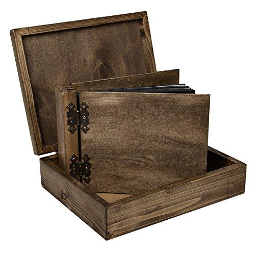 Aldecor - Album fotografico con cofanetto, in legno, 150 pagine, copertina e dorso a battente, colore