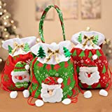 VSTON Navidad Regalo Caramelo Bolsa de Navidad Árbol de decoración para niños Tote Caja de Regalo con Santa Snowman 3 Paquetes