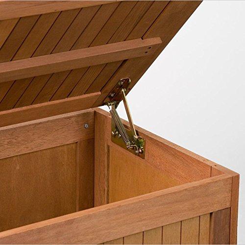 STILISTA® Gartenbox aus FSC zertifiziertem Shorea-Hartholz, Liftautomatik, inkl. Kissen, 113cm - 3