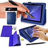 SONY XPERIA Z2 Tablet Case - BLUE PropUp Stand Case - Cover with Magnetic Lid & AUTO STANDBY FUNCTION (for Instant SLEEP / WAKE Functionality) Designed by G-HUB® exclusively for Sony XPERIA TABLET Z2 - Fits All Versions (Including Models SGP541 / SGP521 / SGP551 / 16GB / 32GB / 64GB / 2G / 3G / 4G / LTE Version / WiFi Model / etc.) THIS PACKAGE INCLUDES BONUS: G-HUB ProPen Stylus