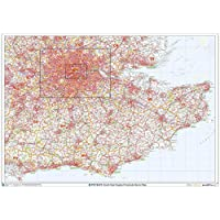 "South East England Postcode Sector Wall Map (S4) - 47"" x 33.25"" Matte Plastic"