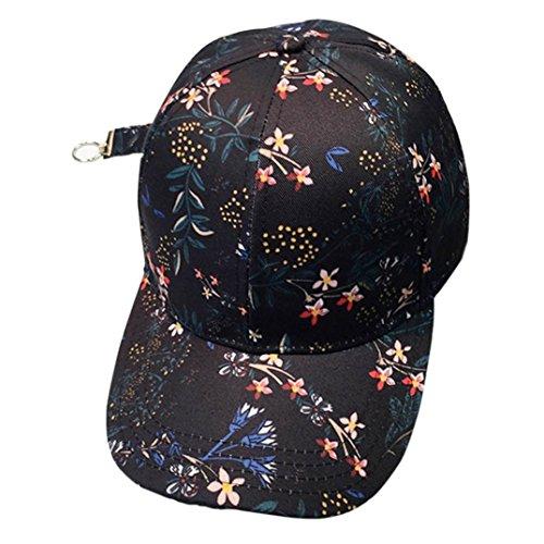 Bovake Frauen Männer Paar Applique Blumen Baseball Cap Unisex Hysteresen Hip Hop Flache Hut  (Black) (Basic Hut Logo Einstellbare)
