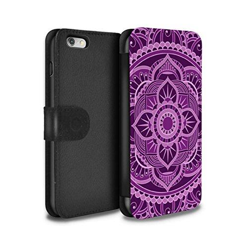 STUFF4 PU-Leder Hülle/Case/Tasche/Cover für Apple iPhone 6S / Sterne/Lila Muster / Mandala Kunst Kollektion Blumen/Lila