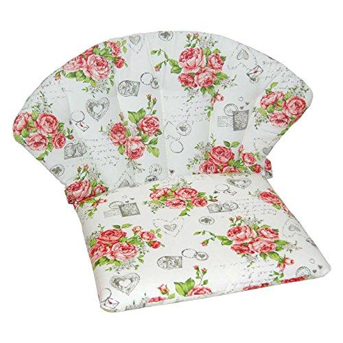 Polsterauflage OUTLIV. für Stapelsessel Royal Garden Elegance/Royal Dourdan, Siena Garden Romaneo - Rosenblüten-Design - Niederlehner Stuhlauflage Sesselauflage Sitzauflage Garten