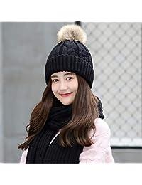 LIUXINDA-ZZM Sombrero de Invierno Bola de Pelo Gorro de Lana Mujer Joven  Gruesa Bufanda 1e8d8ef1b78