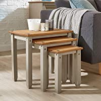 Home Source Corona Grey Pine Nest of Tables Set of 3 Occasional Coffee Side Table Mexican