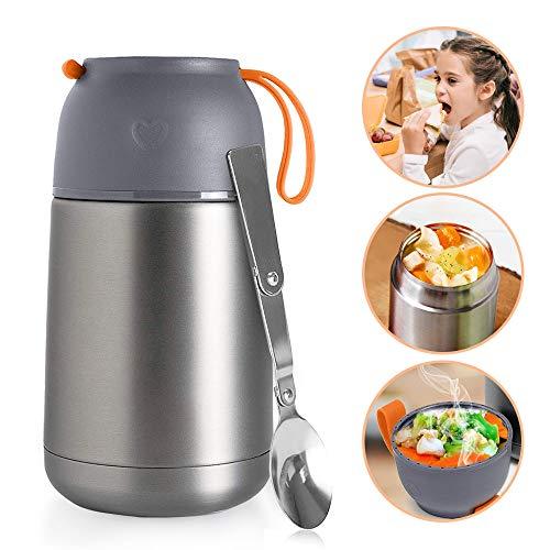 Ikalula contenitore termico per alimenti, contenitore alimentare sottovuoto contenitore termico di acciaio inossidabile 650ml contenitore isotermico per bevande e cibo
