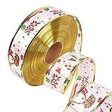 1 x Geschenkband mit Weihnachtsmotiven und glitzernden Geschenkband für Urlaubspartys, Stoff, K, 200 * 5cm