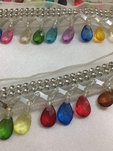 Tropfenform Silber mit Multi-Perlen Borte Fransen Spitze Band Hochzeit Aufnäher 91cm Folie benötigen