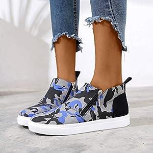 Inawayls Damen Slip On Sneakers Walking Outdoor Bequem Leichte Atmungsaktiv Freizeitschuhe Boots mit Doppelt Reißverschluss