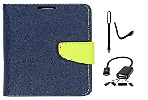 Wait N Watch Royal Dairy Style Flip Cover For Samsung Galaxy TAB S2 9.7' SM-T810, T815 (LAPIS BLUE,OTG,USB LED LIGHT)