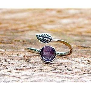 Bottled Up Designs Recycelte Vintage lila Medizin Flasche Sterling Silber Blatt botanische Sammlung Ring