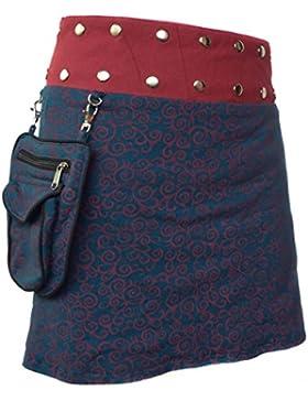 Little Kathmandu - Falda de diseño floral con bolsillo extraíble y broches de presión, falda de algodón reversible