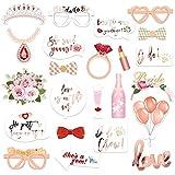 Konsait EVJF Mariage photobooth kit (23Count), Brillants Or Rose Team Bride Accessoire Photo Booth Masquerade avec Bois Bâton pour Décoration Mariage Enterrement de Vie de Jeune Fille