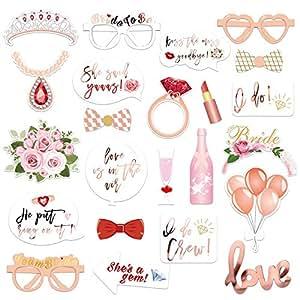 Konsait Hochzeit Hen Party Rose Gold Team Braut Photo Booth Props Fotorequisiten Fotoaccessoires, Witziges Spiel für Den Junggesellinnenabschied JGA-Party, Hochzeit (23 Stücke)