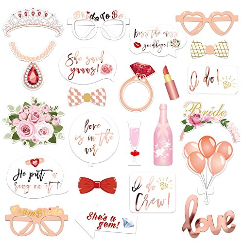 Konsait Boda Photo Booth Props, Oro Rosa DIY Photo Booth Atrezzo Favorecer photocall Accesorios...