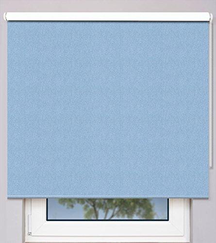 EFIXS Kettenzugrollo auf Maß ~ Breite 230,1 bis 240cm ~ Höhe 140,1 bis 160cm ~ Verdunkelungs- & Hitzeschutzrollo ~ Farbe: hellblau ~ Montageträger: Universal