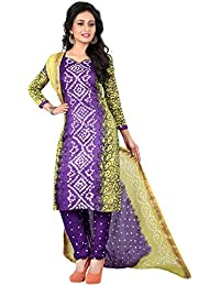Taboody Empire Persian Lavender Satin Cotton Handi Crafts Bandhani Work With Straight Salwar Suit For Girls And...