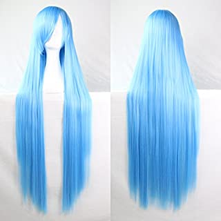 Womens Ladies Girls 100cm Blue Lake Color Long Straight Wigs High Quality Hair Carve Cosplay Costume Anime Party Bangs Full Sexy Wigs
