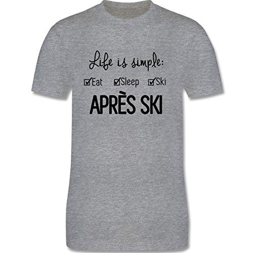 Après Ski - Life ist simple Apres Ski - Herren Premium T-Shirt Grau Meliert