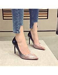 MDRW-Dame/Élégante/Travail/Loisirs/Printemps Couture En Cuir Dame Bouche Peu Profonde Fait 7Cm Chaussures Chaussures High-Heeled Gris Avec Une Amende Chaussures De Travail 35 Tez9h