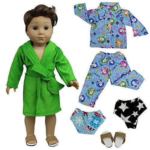 ZITA ELEMENT 5 Stück Nachtwäsche Set Puppenkleidung für 18 Zoll American Girl Junge Und Andere Puppen 45-46cm Puppen Bademantel Nachthemd Schuhe - Unterwäsche-set Puppenkleidung