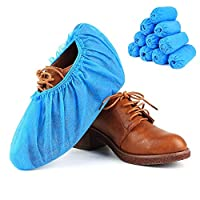 RYOZOCH 100pcs Home Disposable Shoe & Boot Covers, Thick (5g/pc), Non-Slip,Durable for Workplace Medical, Car or Indoor & Outdoor Traveling or Car Carpet Floor Protection (Blue)