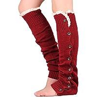 Hrph Caliente de moda del botón de la pierna hecha punto cordón de las muchachas de las mujeres de los calentadores del ajuste de arranque puños calcetines hasta la rodilla nueva de invierno