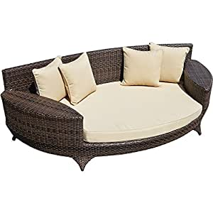 love sofa bett braun aus rattan wetterfest gartenm bel gartenliege. Black Bedroom Furniture Sets. Home Design Ideas