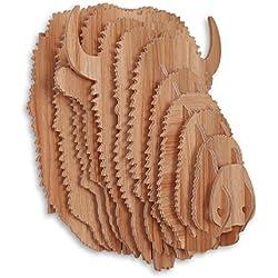 Bisonte Rompecabezas 3D en madera color haya con sujeto cabeza de bisonte