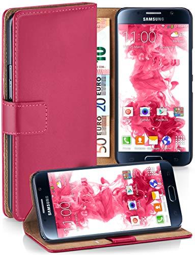 moex® Booklet mit Flip Funktion [360 Grad Voll-Schutz] für Samsung Galaxy S6 | Geldfach und Kartenfach + Stand-Funktion und Magnet-Verschluss, Pink