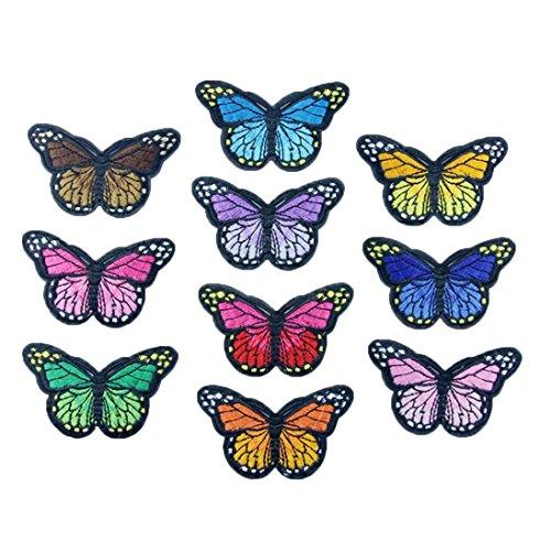 10PC DIY Gestickt Applique Dekorationen Mehreren Farben Schmetterling Kragen nähen Kunst Patch Bunte Kleidung Aufkleber niedlich Fertigkeit Abzeichen Flecken wiederverwendbar (Mehrfarben) -