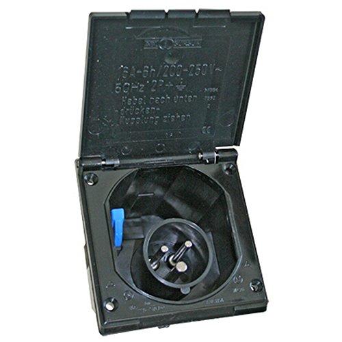 CEE Außensteckdose Spritzwasser geschützt IP 44 200-240V, 16A, 3 polig für Wohnwagen, Wohnmobil oder Boot von Fawo (Einheitsgröße) (Schwarz)