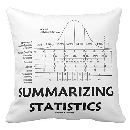 Not afraid Summarizing Statistics (Bell Curve Distribution) Home Decor Pillow Cover for Girls Throw Pillowcase Dorm Room Decor Throw Pillows for Couch 18 x 18 - Navy Stuhl Computer