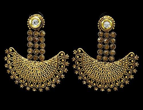 Banithani indiens Goldtone Pendants d'oreilles traditionnelles Set ethnique Bijoux cadeau pour elle Or