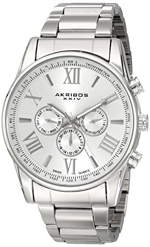 Akribos XXIV Herren 's Ultimate Swiss Edelstahl Armband Armbanduhr