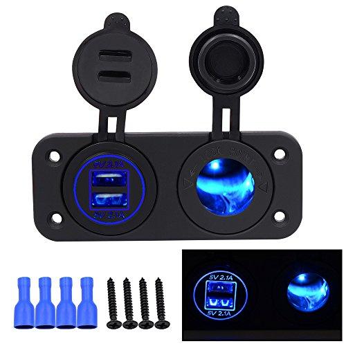Zigarettenanzünder Set happytop Dual USB Handy Ladegerät Power Adapter 4,2A 12V mit Blau LED Licht für Wassersport, Motorrad, Fahrzeug, RV, blau (Rv 12-volt-tv)
