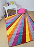 Modern Large Small Bright Colourful Rainbow Quality Heavy Rug in 6 Design 3 Size (80 x 150 cm (2'6''x5'0''), Spark Multi)