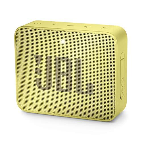 JBL GO 2 kleine Musikbox in Gelb – Wasserfester, portabler Bluetooth-Lautsprecher mit Freisprechfunktion – Bis zu 5 Stunden Musikgenuss mit nur einer Akku-Ladung